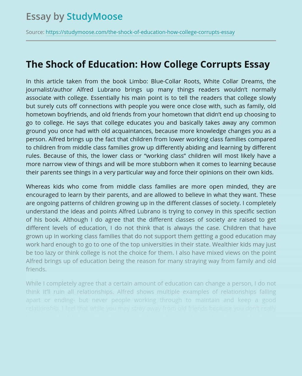 The Shock of Education: How College Corrupts