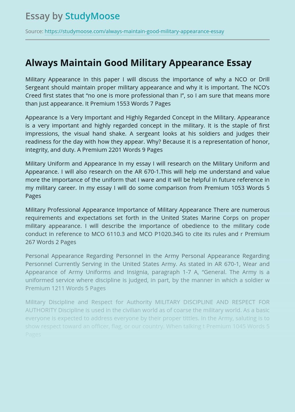 Always Maintain Good Military Appearance