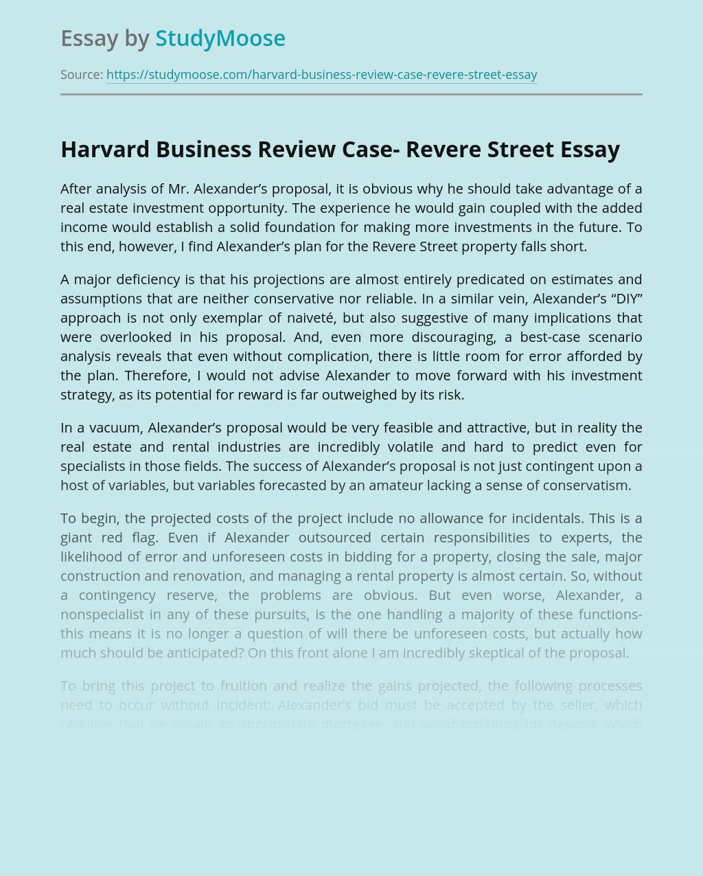 Harvard Business Review Case- Revere Street
