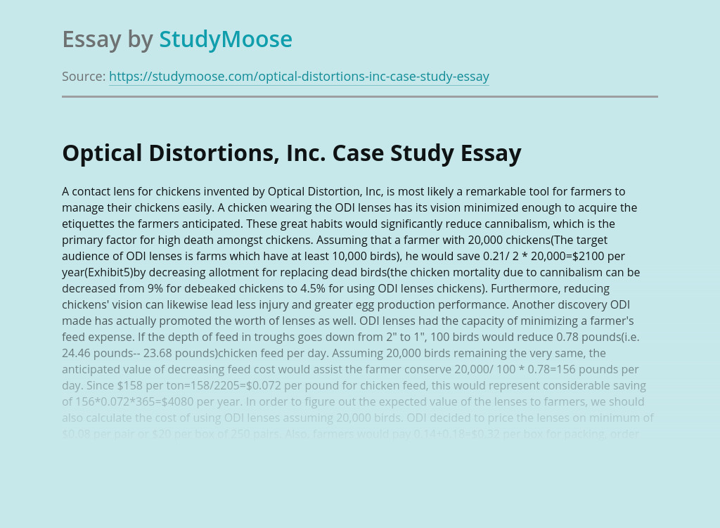 Optical Distortions, Inc. Case Study