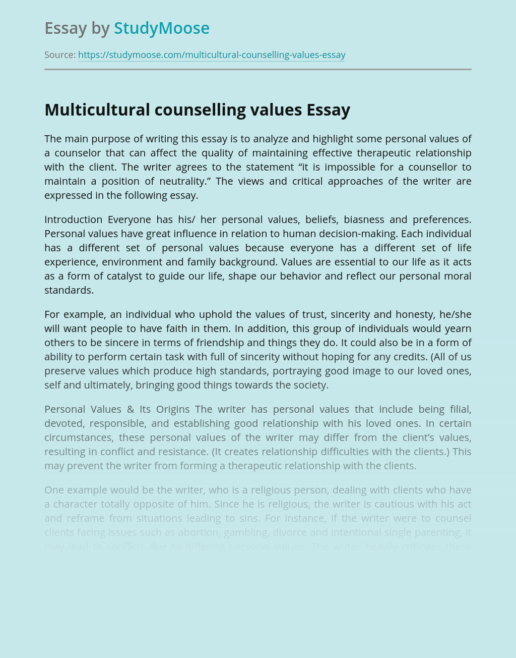Multicultural counselling values