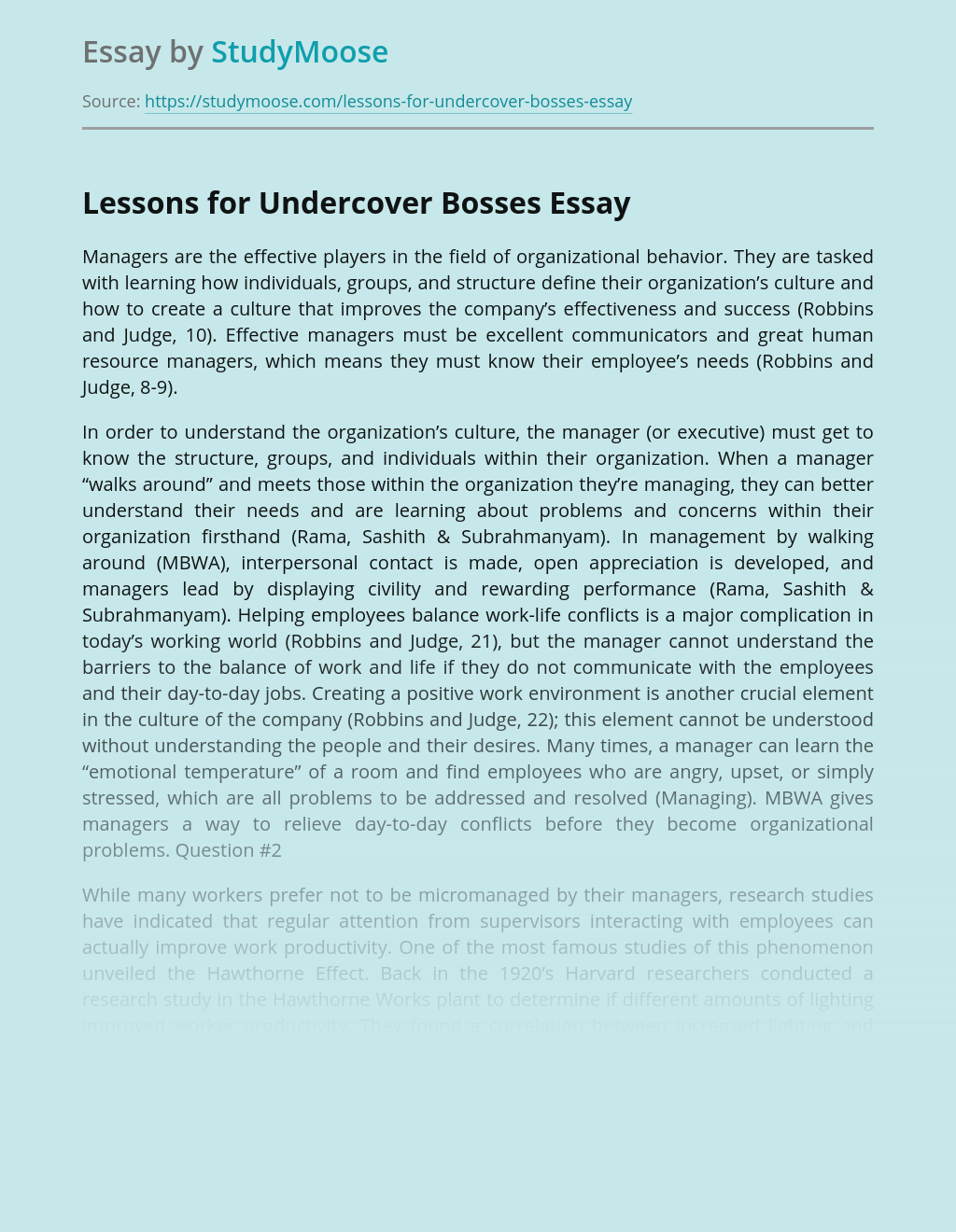 Lessons for Undercover Bosses