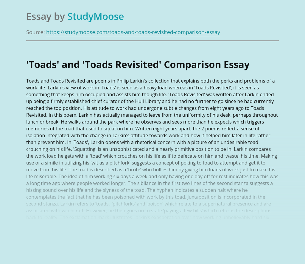 Toads and Toads Revisited Poems Comparison