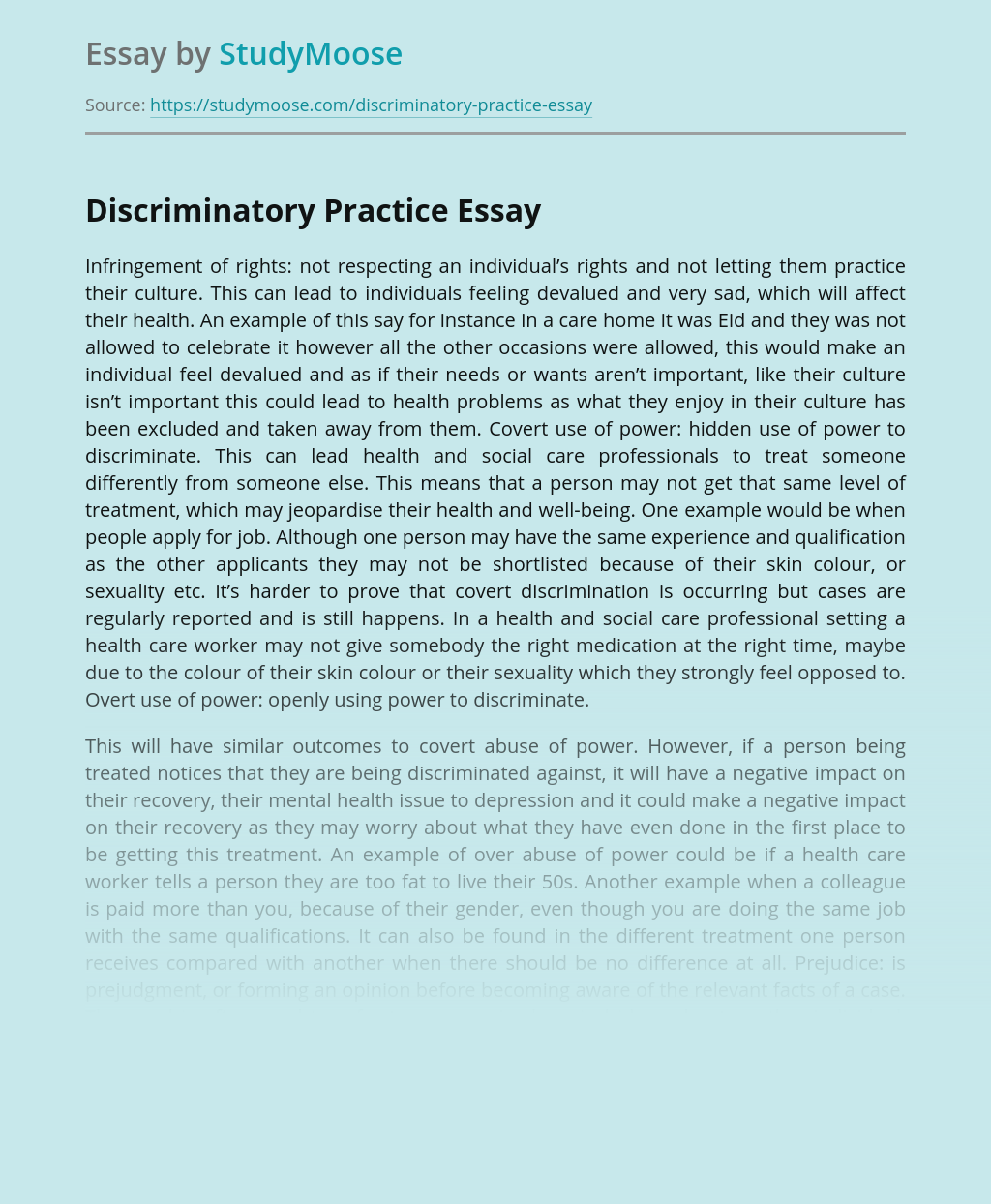 Discriminatory Practice And Health and Social Care Professionals