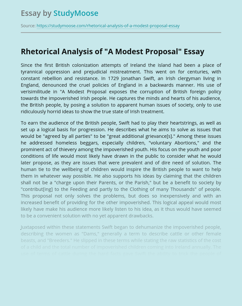 "Rhetorical Analysis of ""A Modest Proposal"""