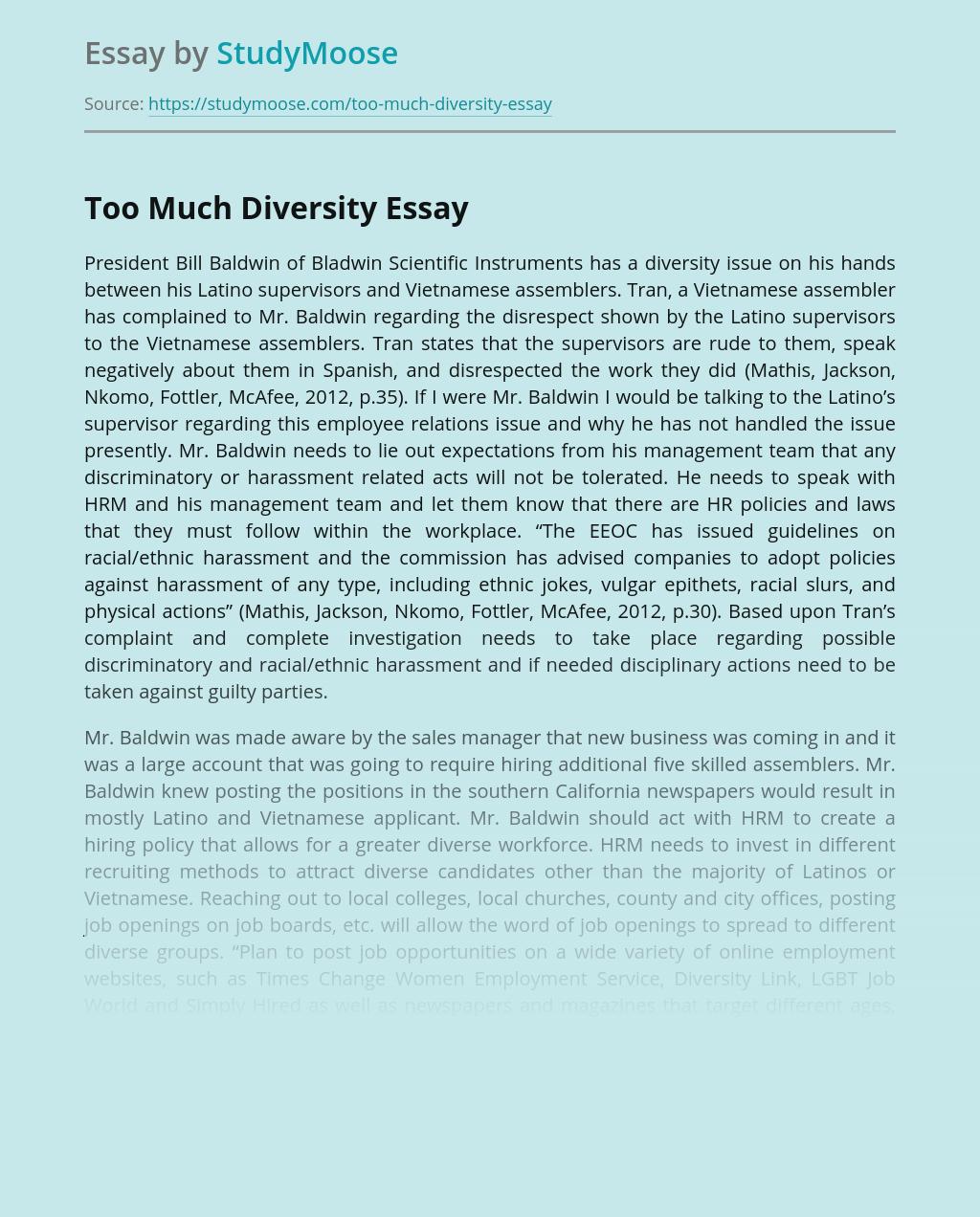Too Much Diversity