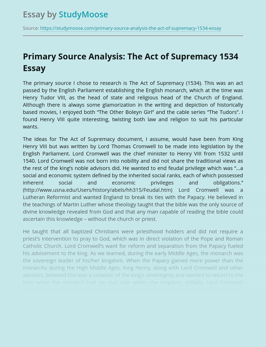 The Act of Supremacy 1534