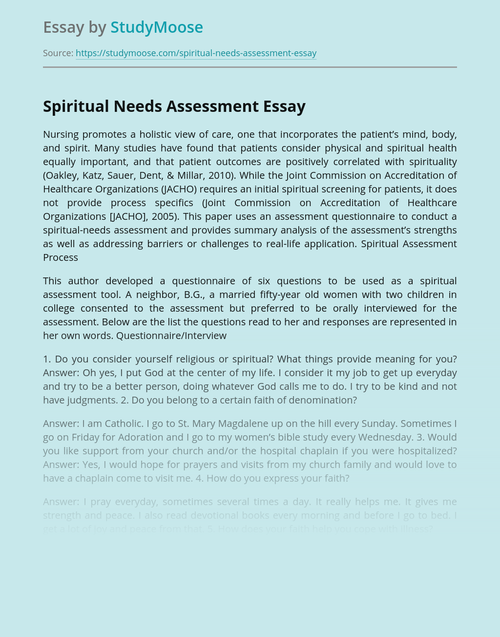 Spiritual Needs Assessment