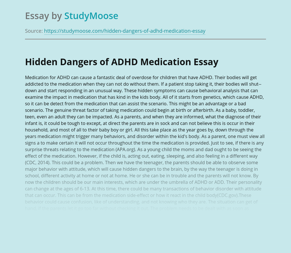 Hidden Dangers of ADHD Medication