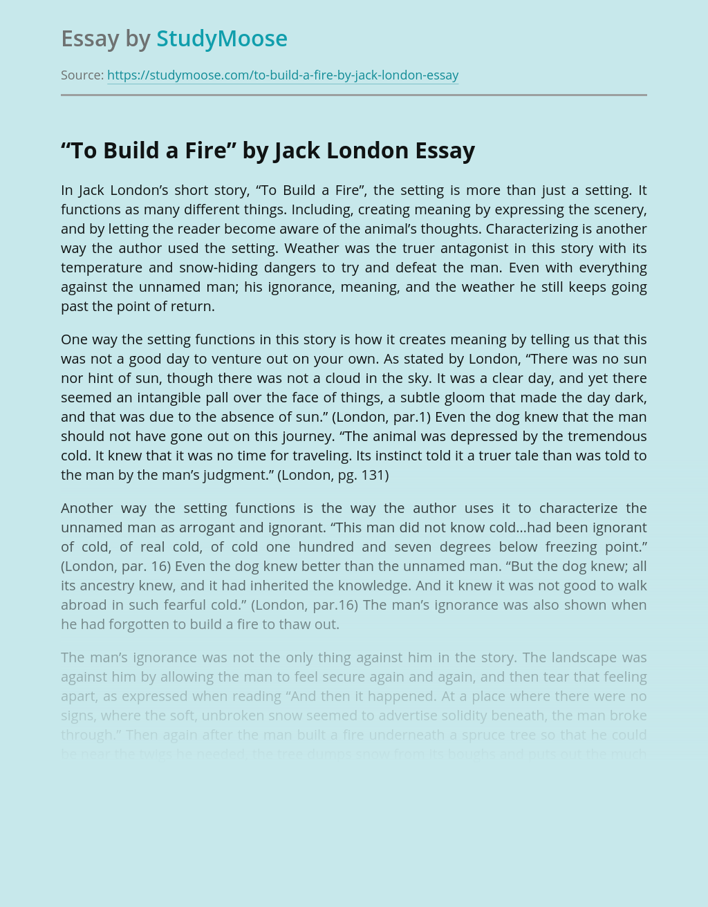 """""""To Build a Fire"""" by Jack London"""