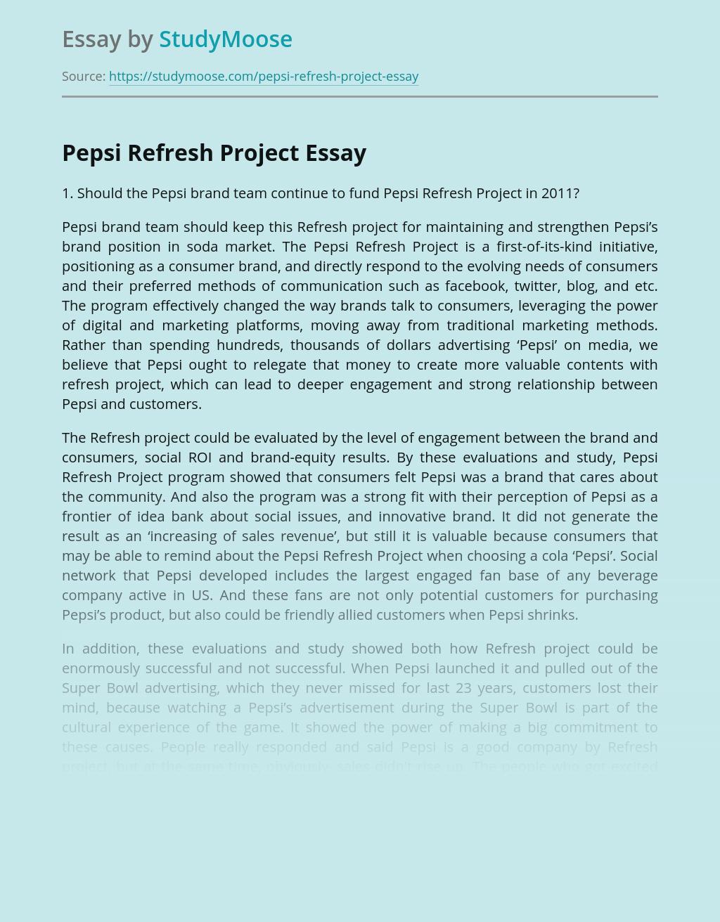 Advertising Pepsi Refresh Project