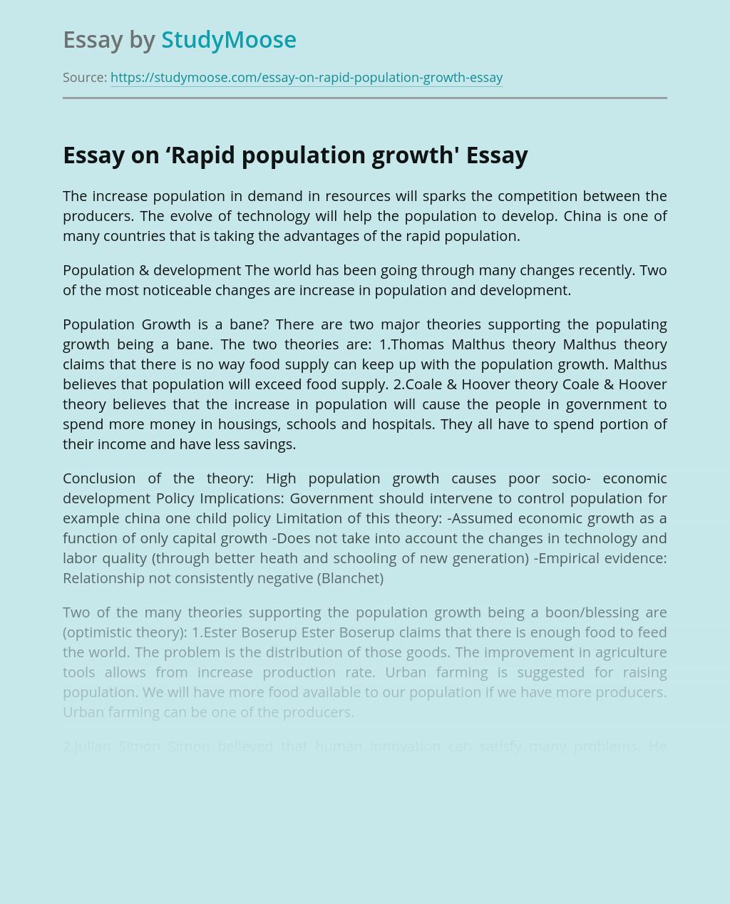 how does population affect development essay