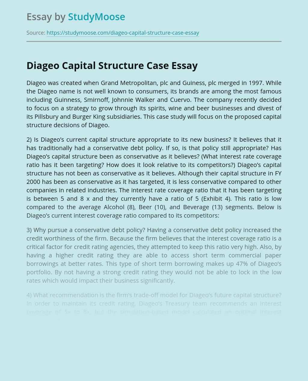 Diageo Capital Structure Case