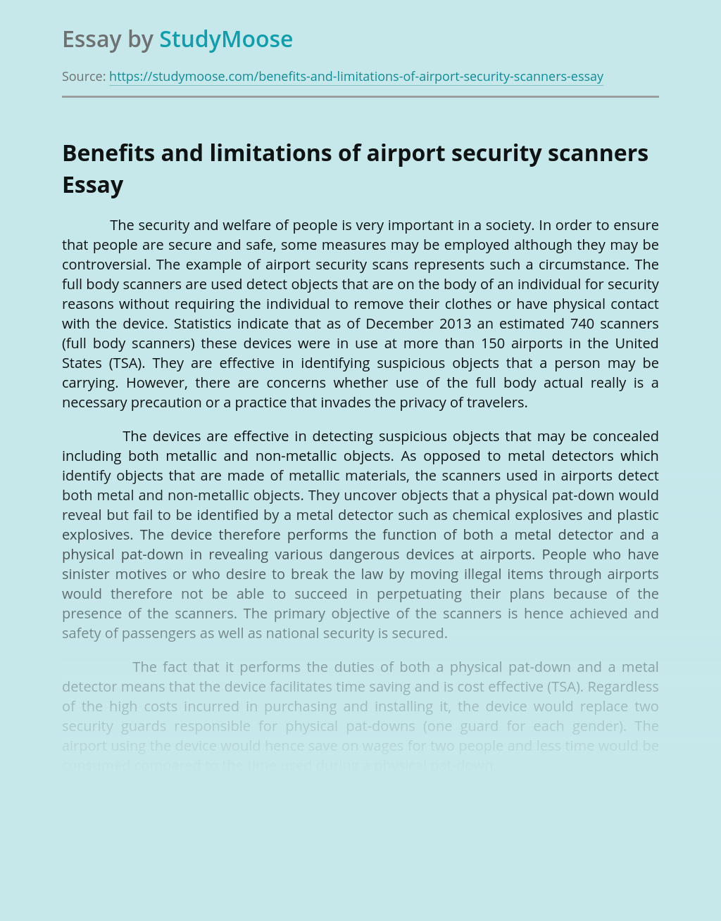 Benefits and limitations of airport security scanners