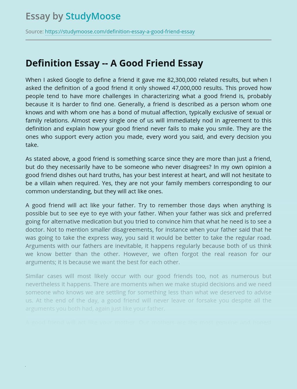 Definition Essay -- A Good Friend
