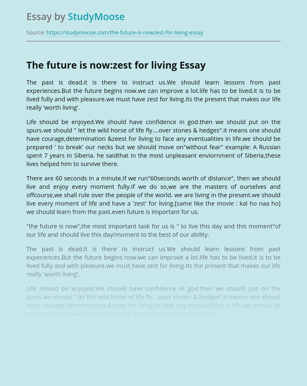 The future is now:zest for living