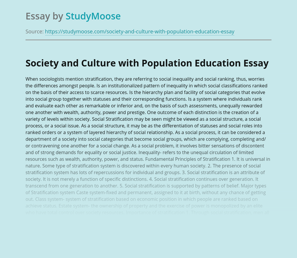Society and Culture with Population Education