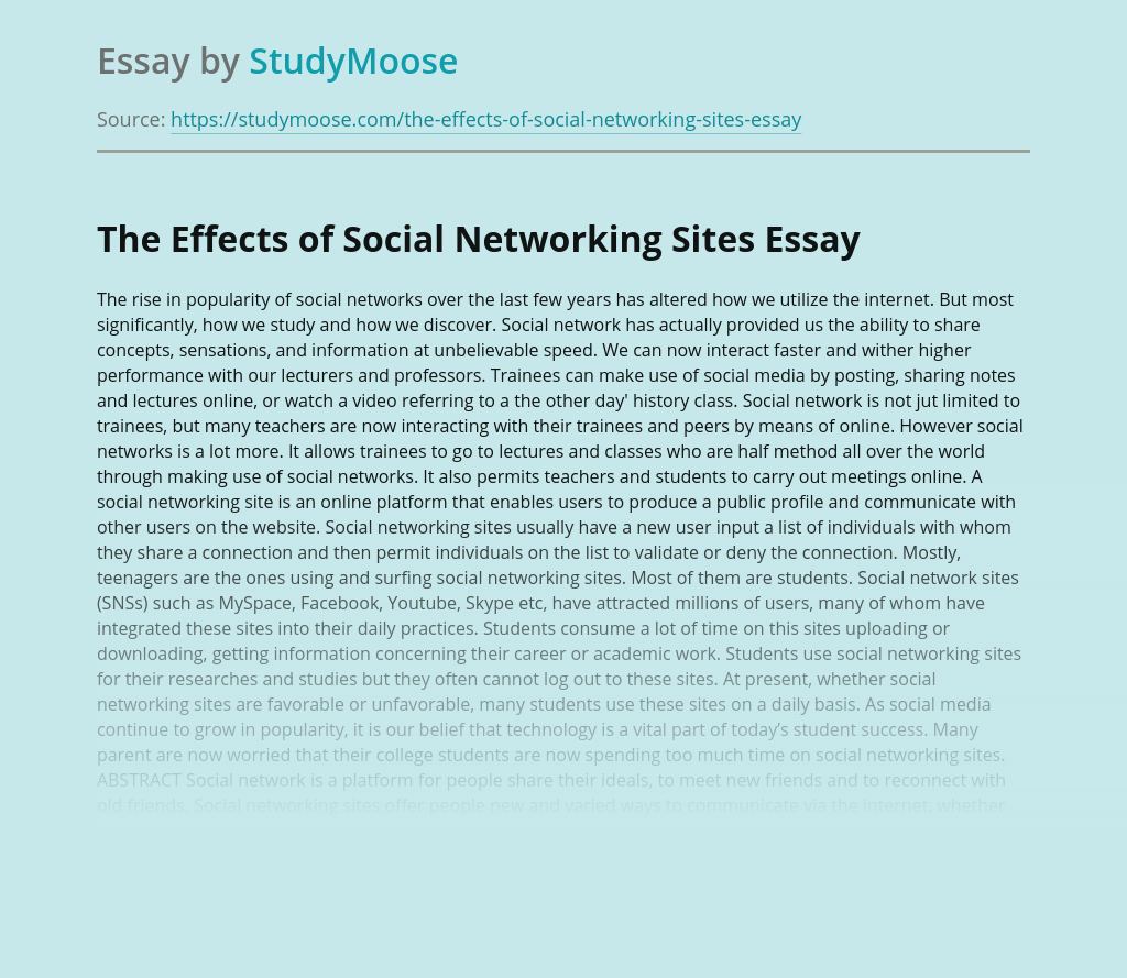 The Effects of Social Networking Sites