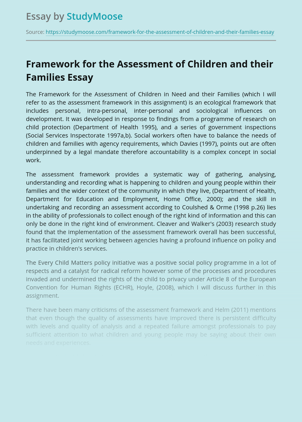 Framework for the Assessment of Children and their Families