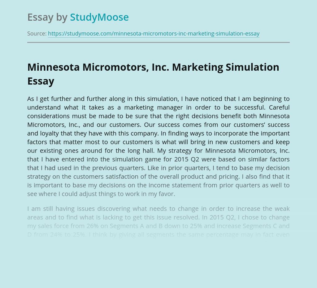 Minnesota Micromotors, Inc. Marketing Simulation