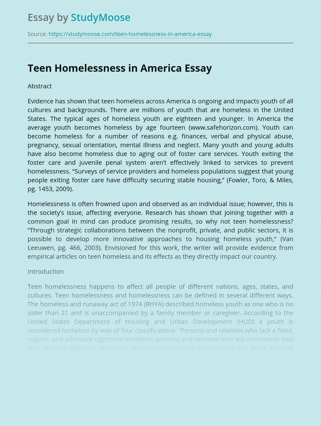 Teen Homelessness in America