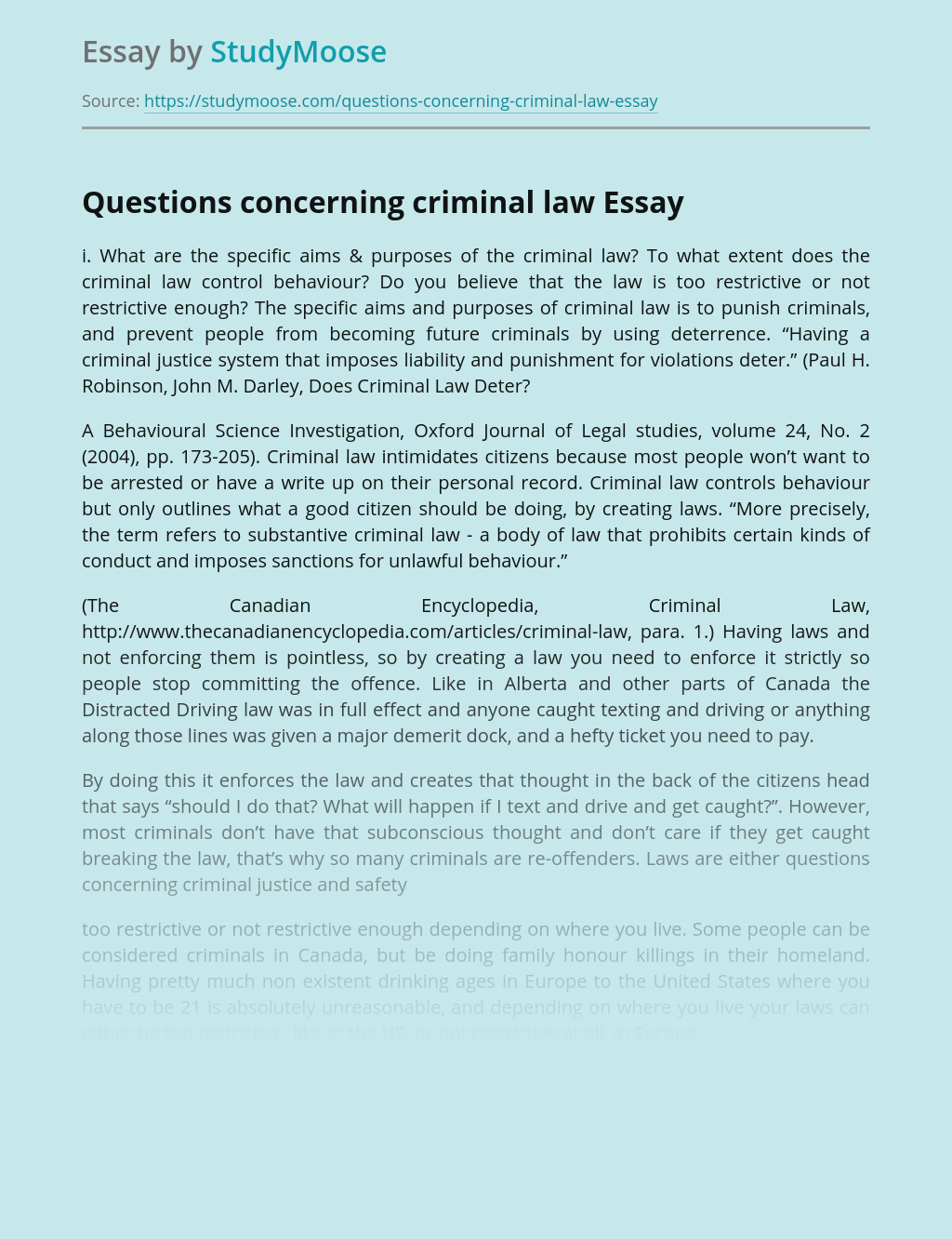 Questions concerning criminal law