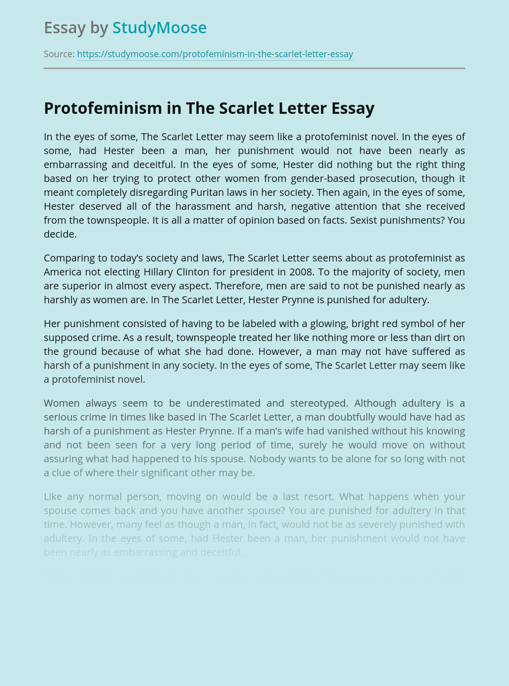 Protofeminism in The Scarlet Letter