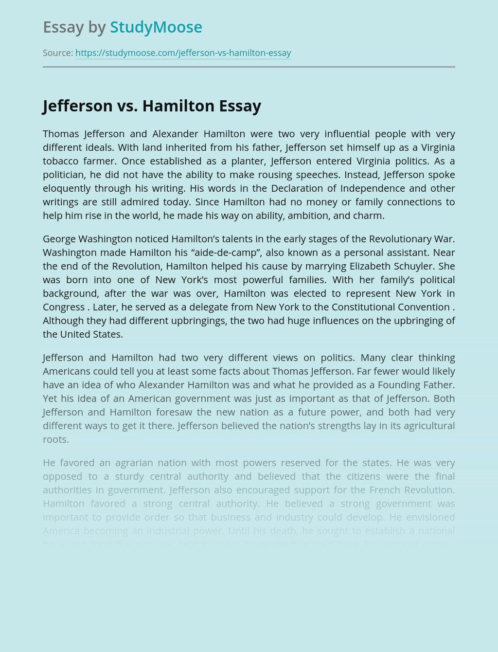 Thomas Jefferson vs. Alexander Hamilton