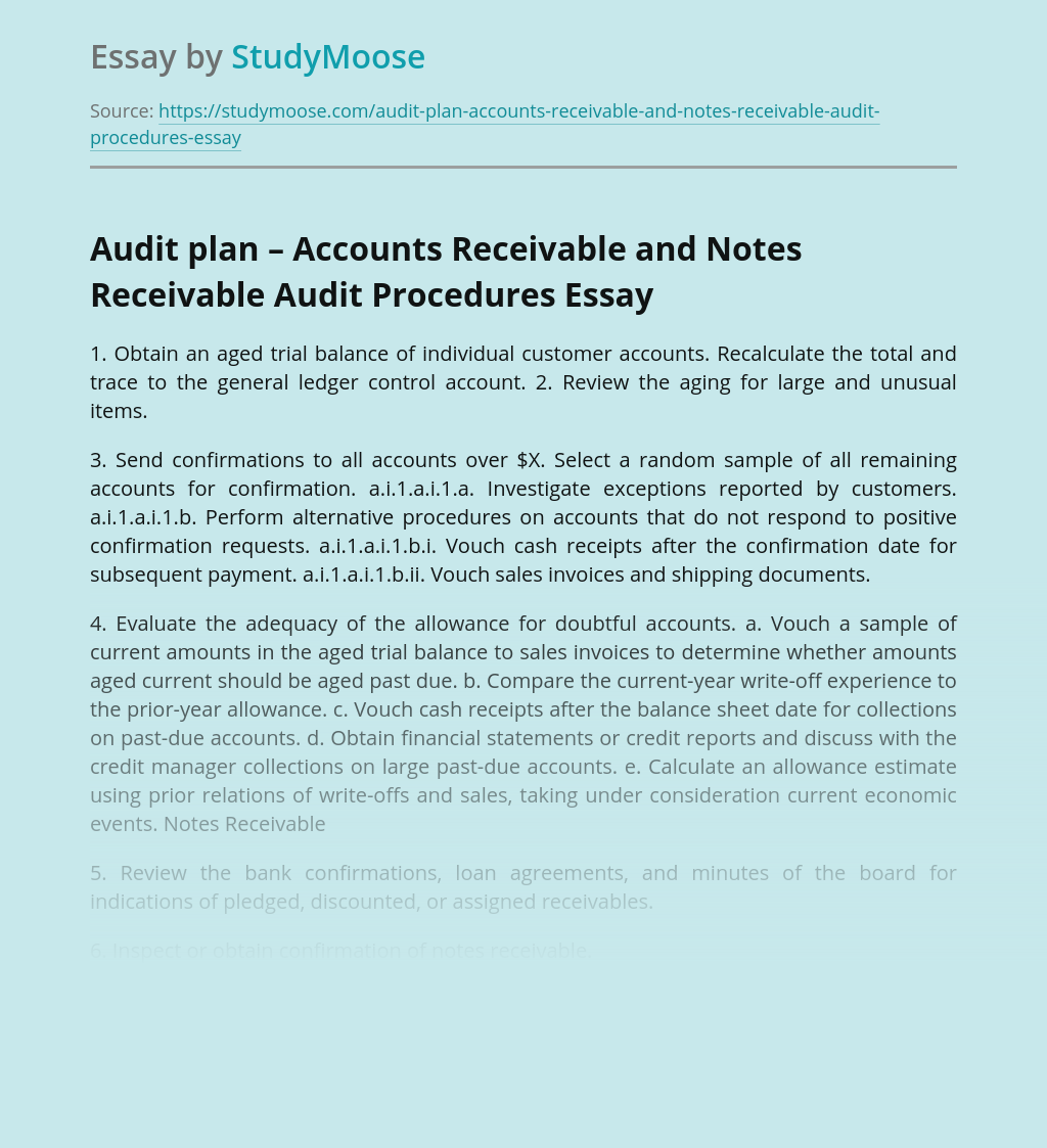 Audit plan – Accounts Receivable and Notes Receivable Audit Procedures