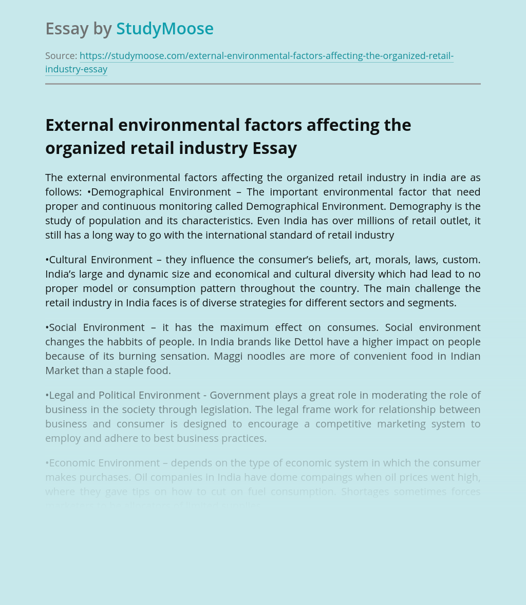 External environmental factors affecting the organized retail industry