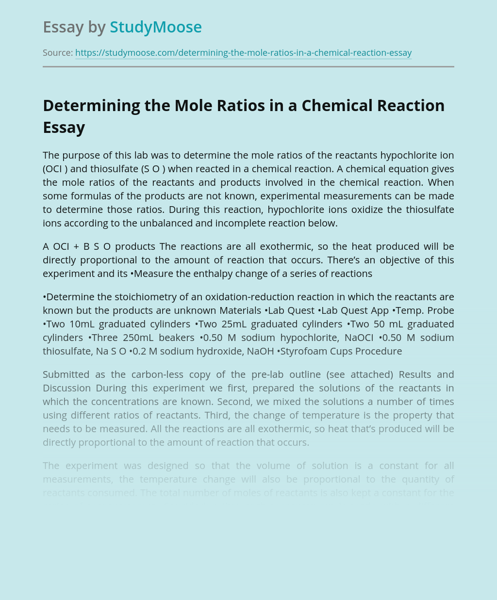 Determining the Mole Ratios in a Chemical Reaction
