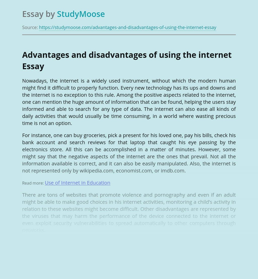 Advantages and disadvantages of using the internet