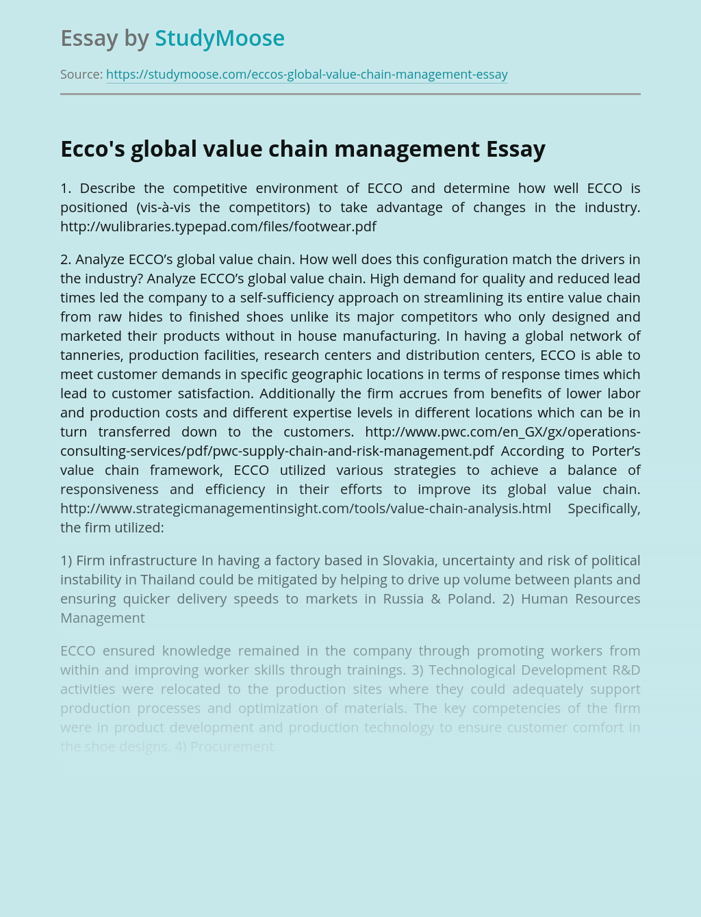 The competitive environment of ECCO