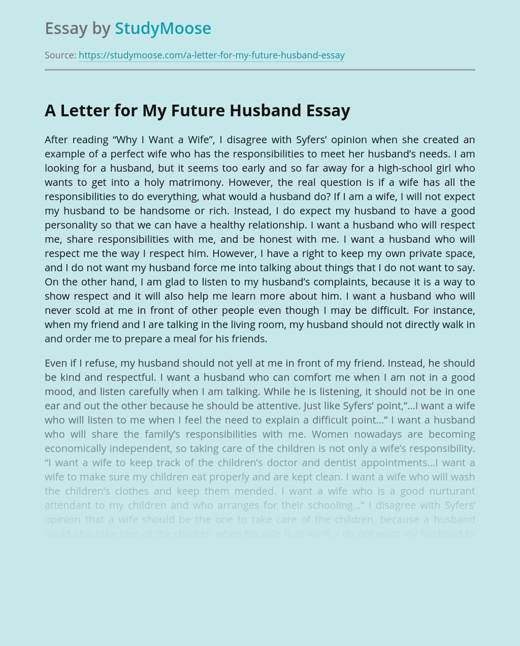?A Letter for My Future Husband
