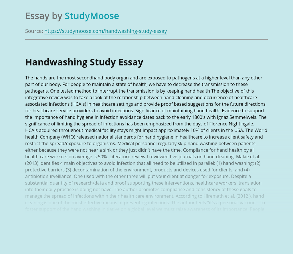 Handwashing Study