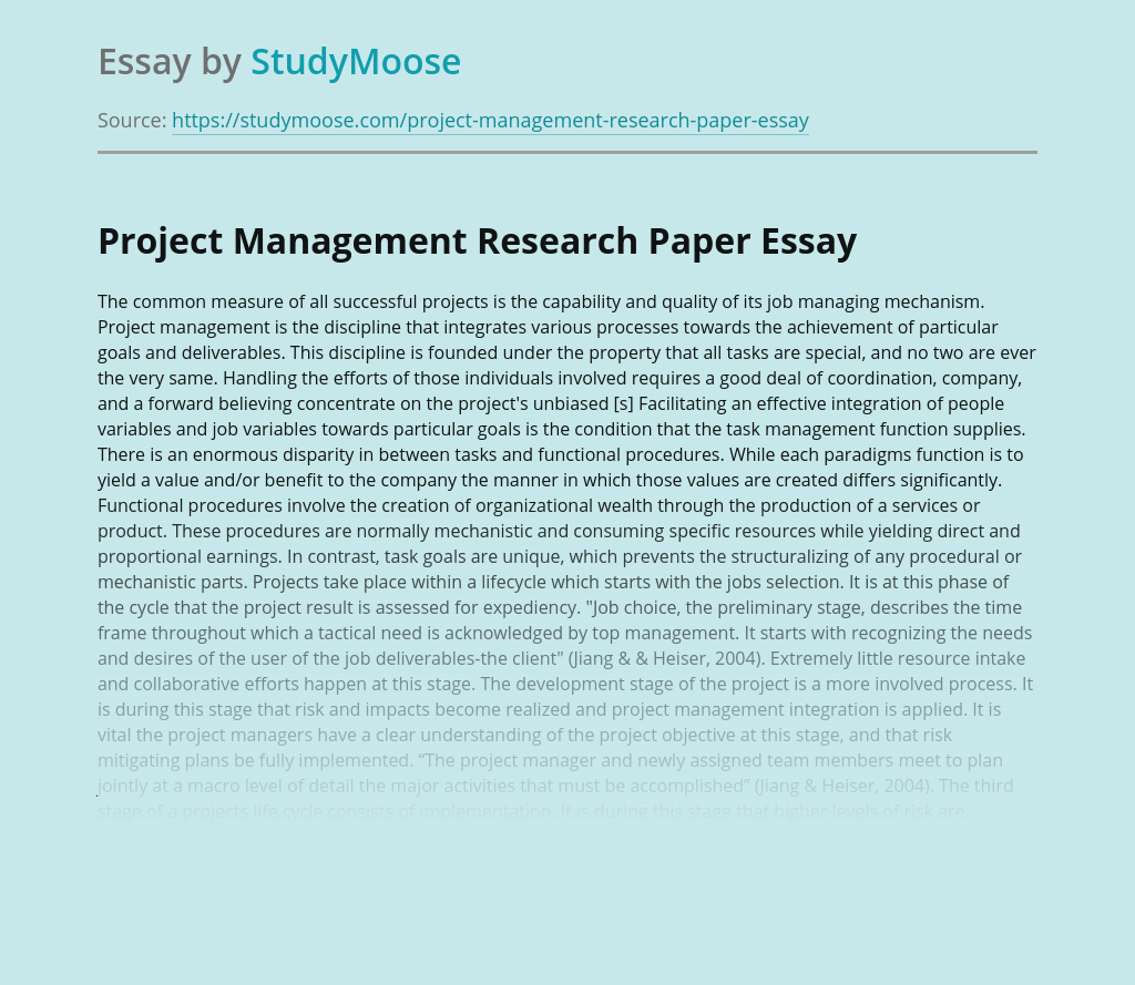 Project Management Research Paper