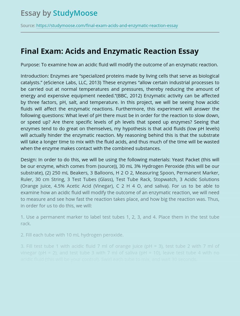 Final Exam: Acids and Enzymatic Reaction