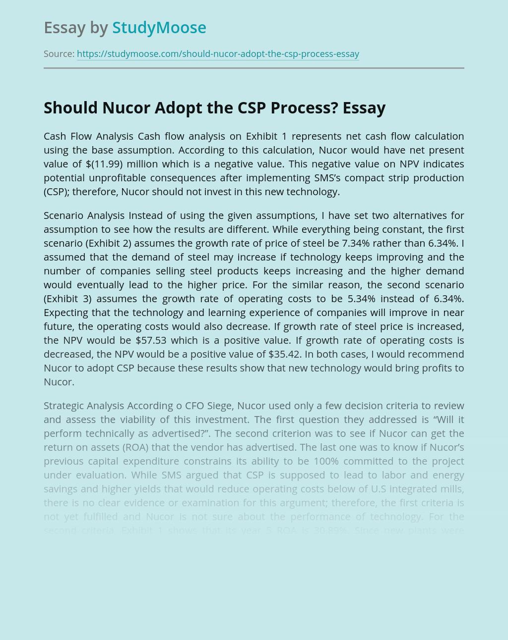 Should Nucor Adopt the CSP Process?