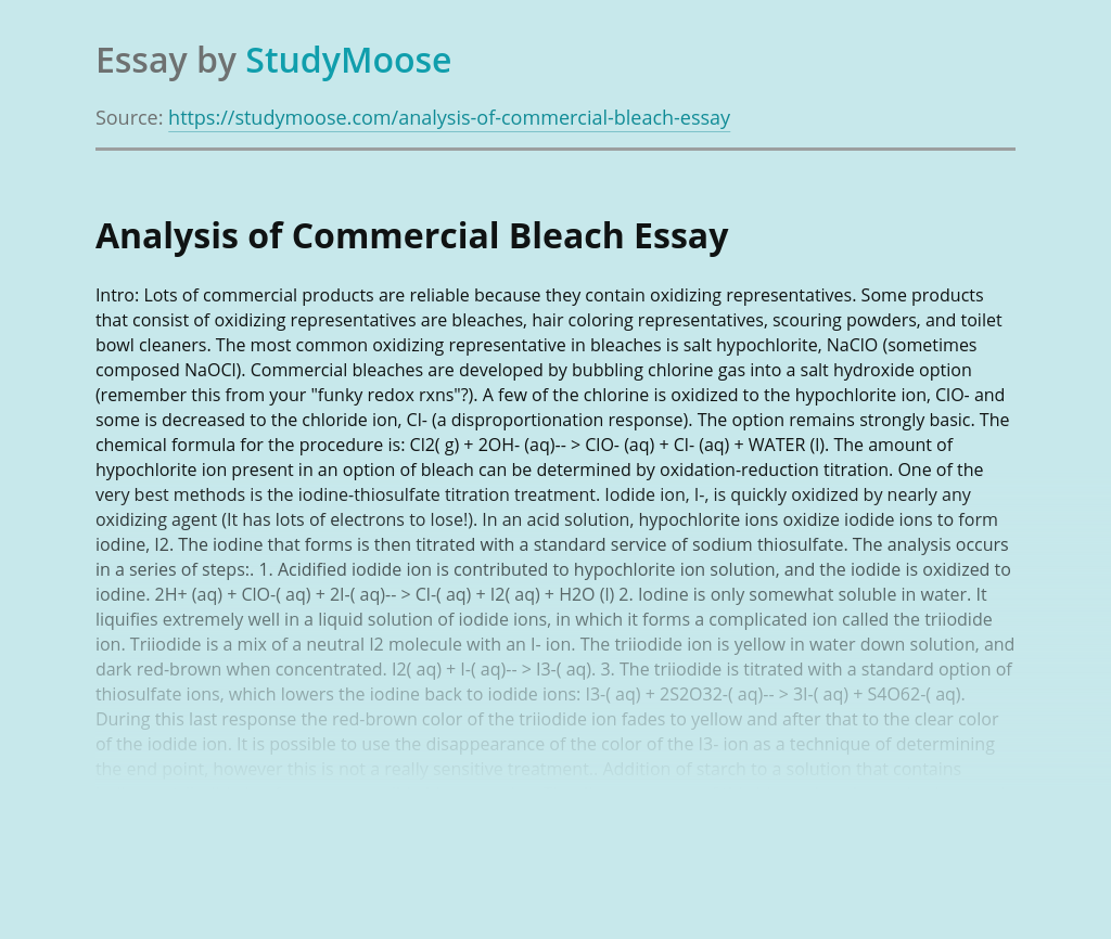 Analysis of Commercial Bleach