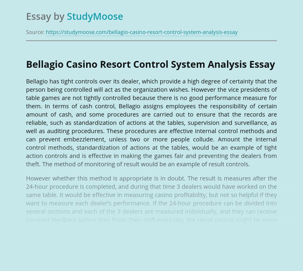 Bellagio Casino Resort Control System Analysis