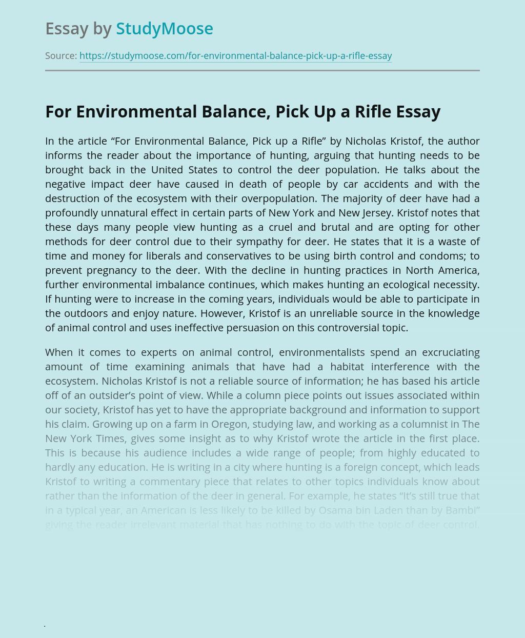 For Environmental Balance, Pick Up a Rifle
