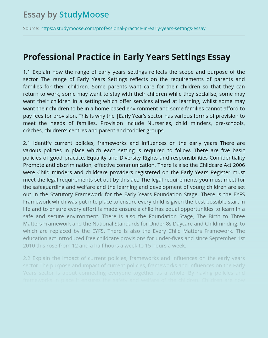 Professional Practice in Early Years Settings