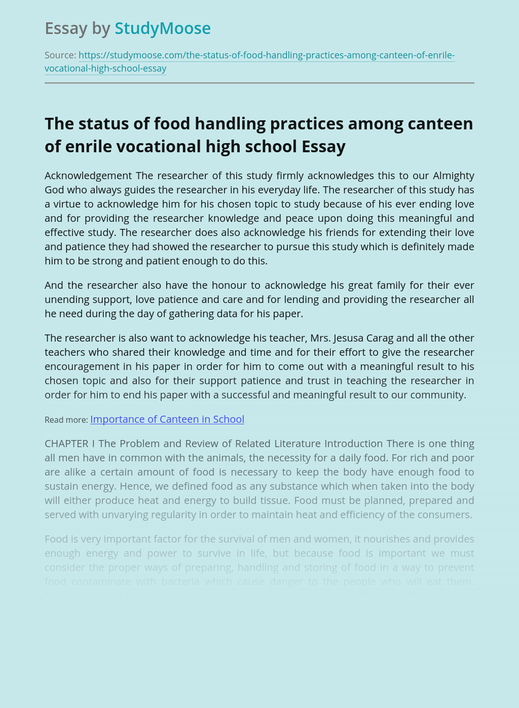 The status of food handling practices among canteen of enrile vocational high school