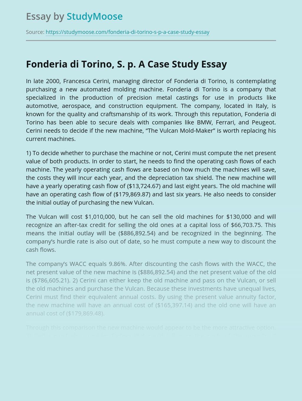 Fonderia di Torino, S. p. A Case Study