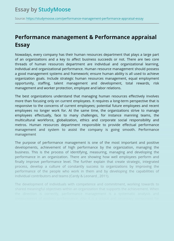 Performance management & Performance appraisal