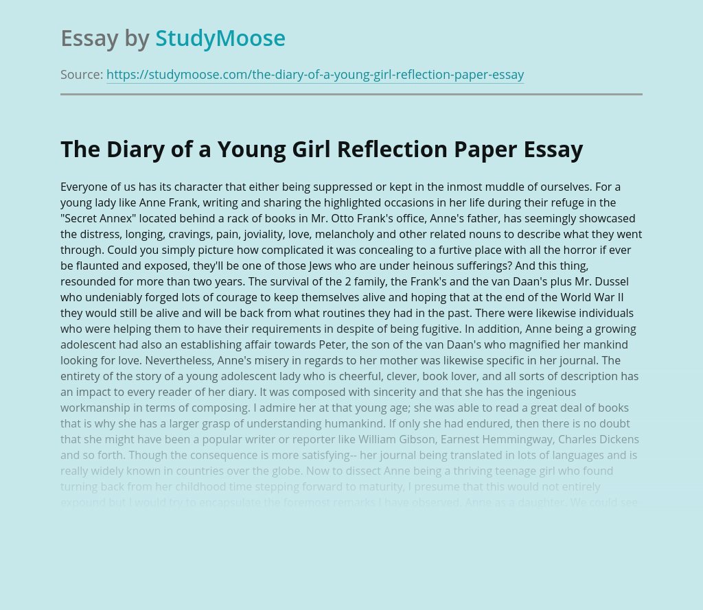 The Diary of a Young Girl Reflection Paper