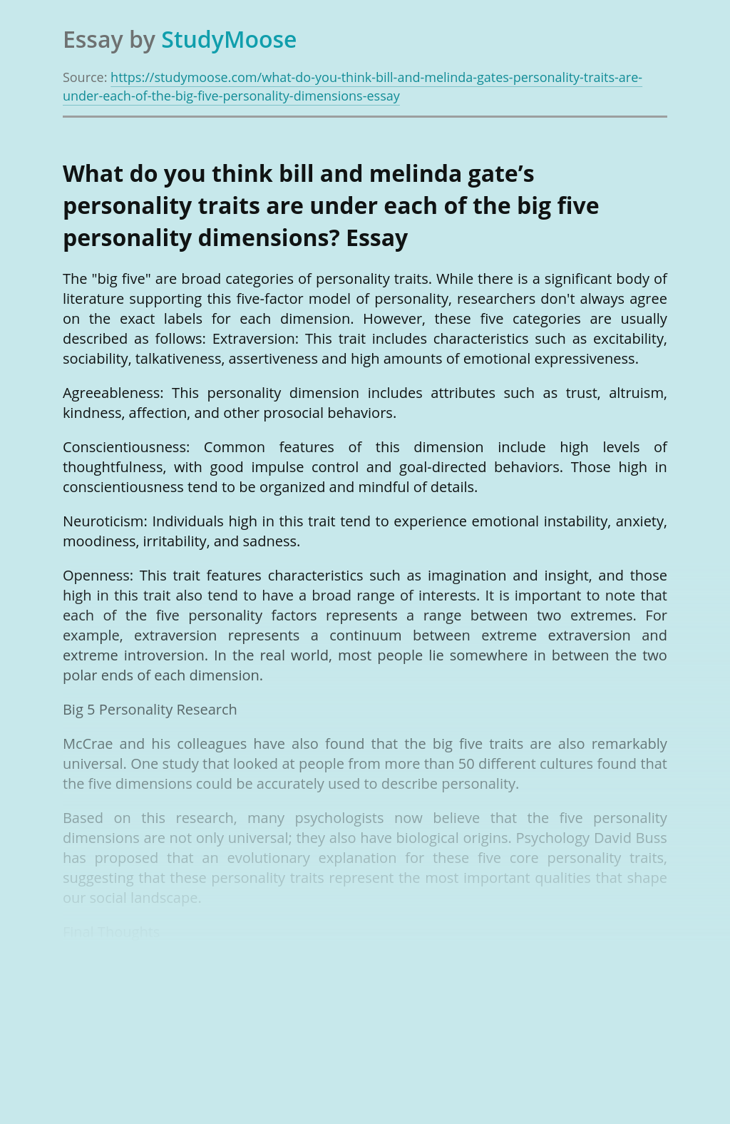 What do you think bill and melinda gate's personality traits are under each of the big five personality dimensions?