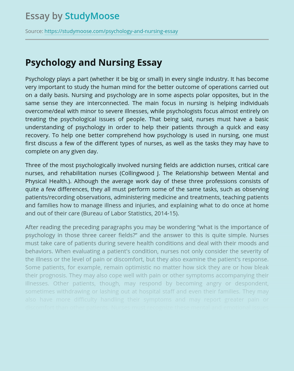 Psychology and Nursing