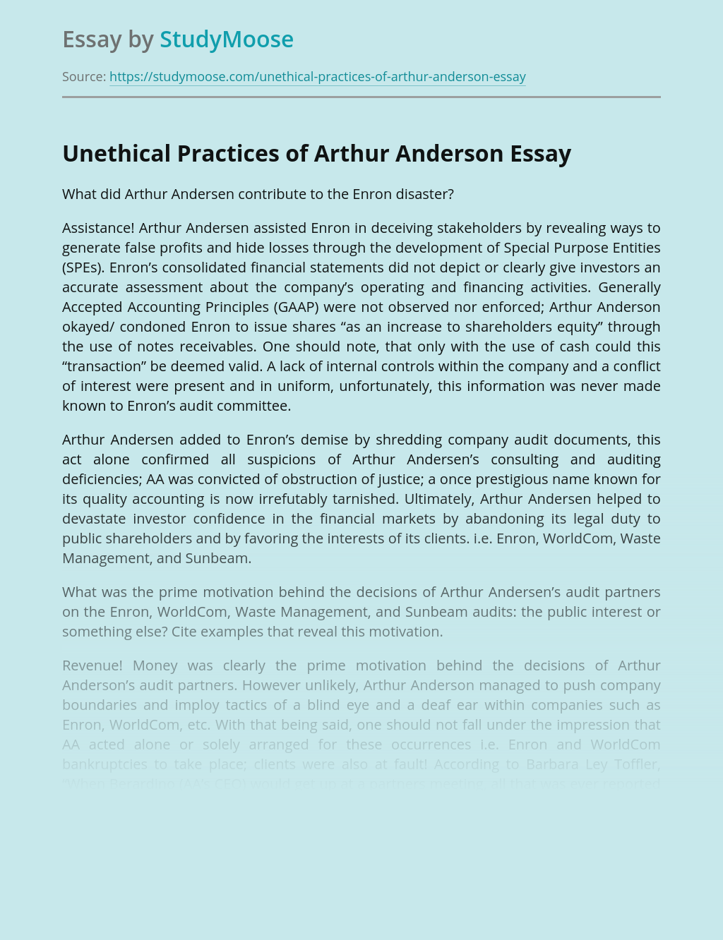 Unethical Practices of Arthur Anderson