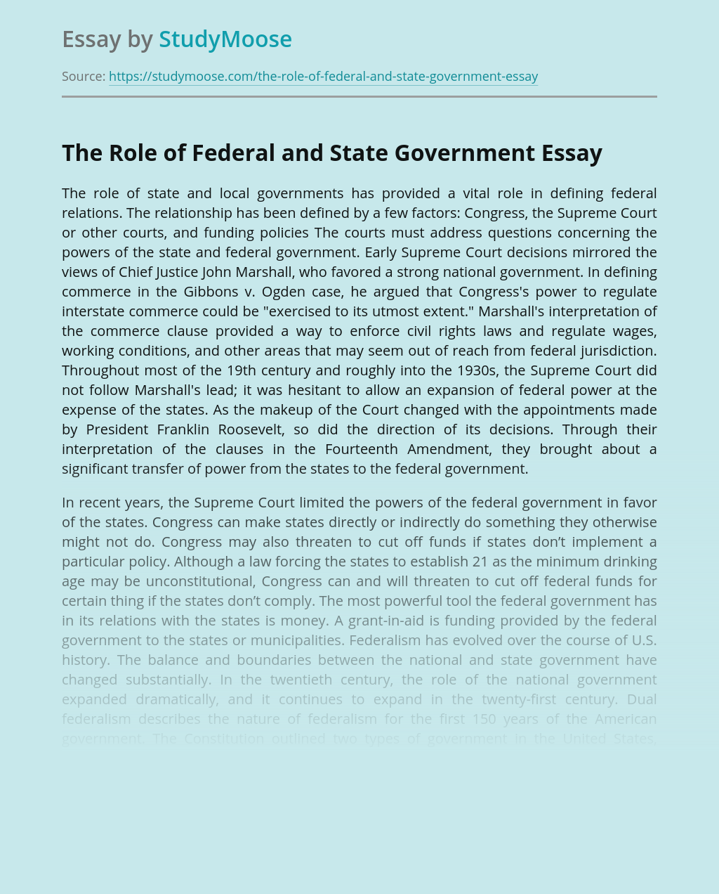 The Role of Federal and State Government